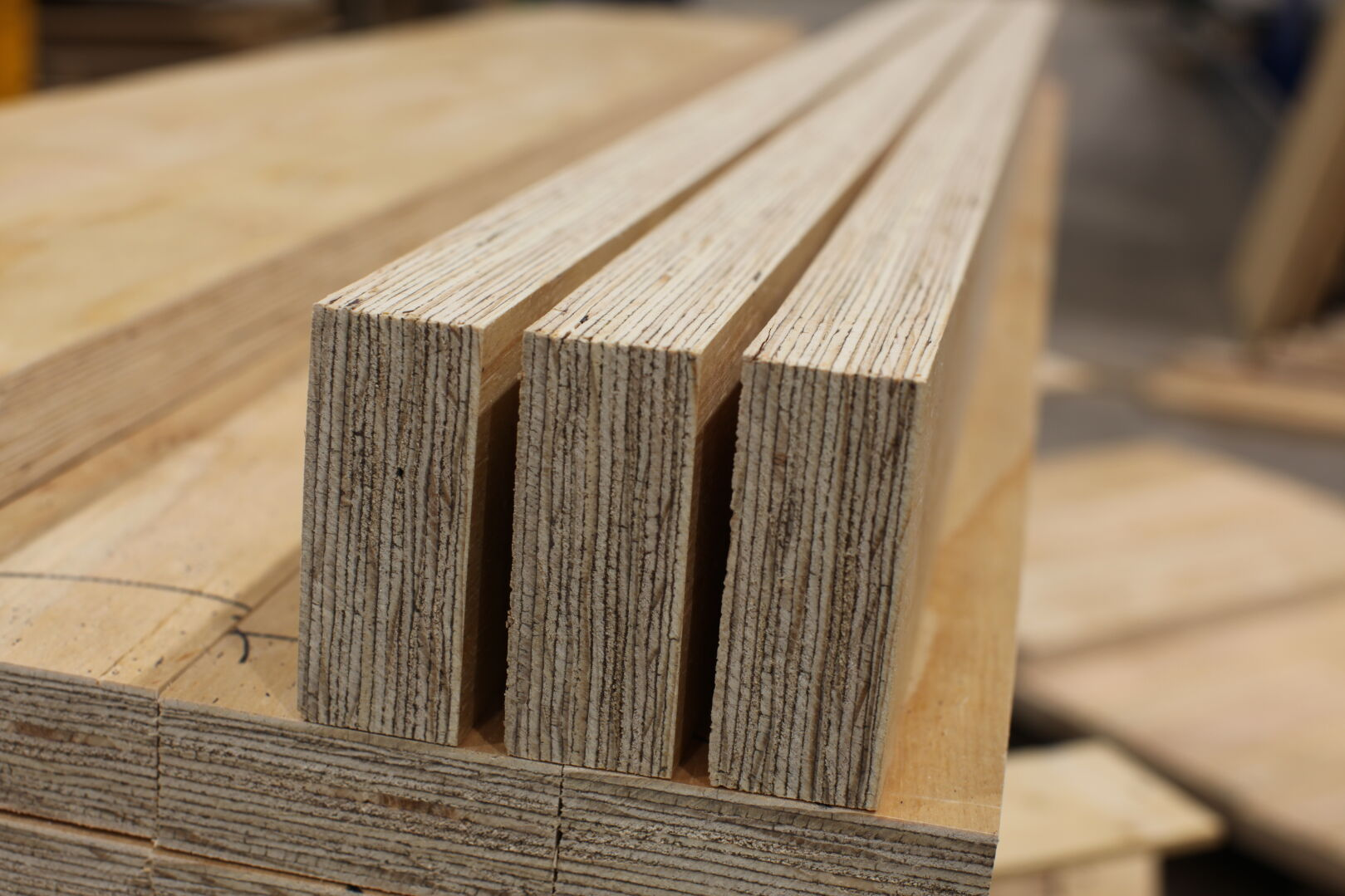 Typically LVL is made of thick veneer and veneer sheets are laid in same grain direction.