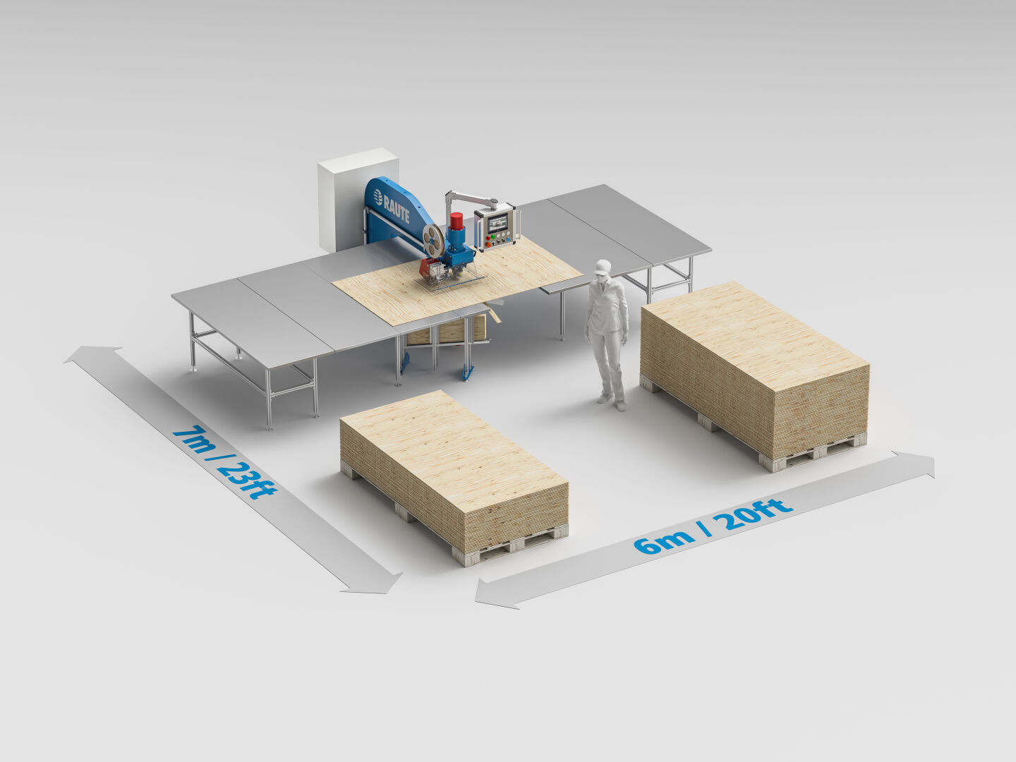 The machine is plug & play, and requires very little floor space. You need only 6x7m needed for veneer stacks