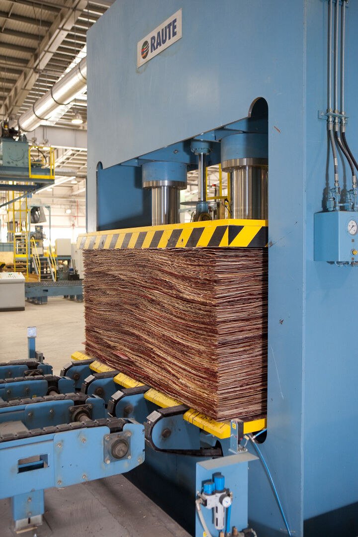 Pre-pressing gives the plywood panels enough strength to be handled automatically in hot pressing.