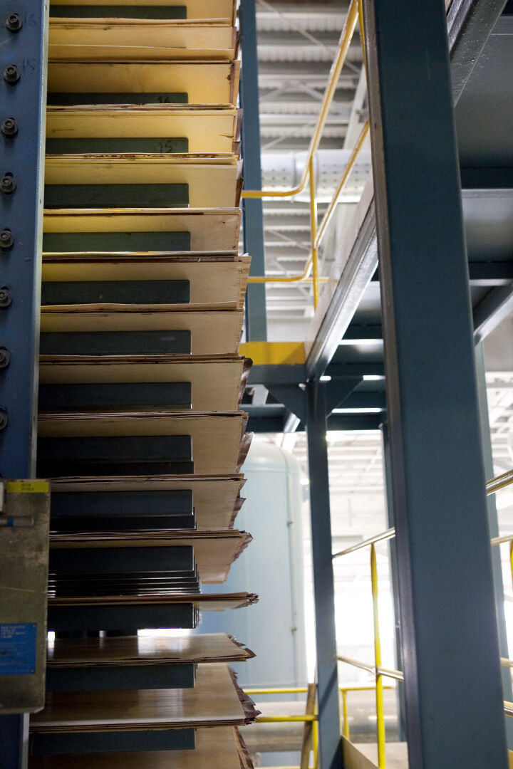 Hot pressing gives the plywood panels the final strength.